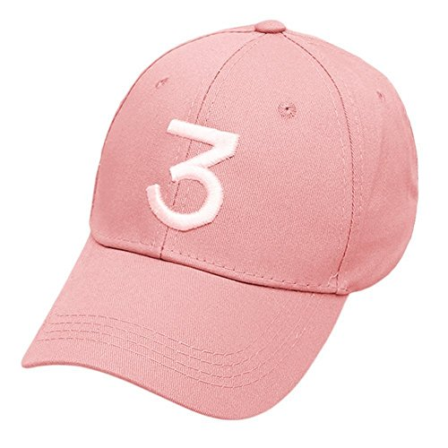Embroider Chance Baseball Caps Hats Cool Baseball Rapper Number 3 Caps, Rock Hip Hop Classic Casquette with Adjustable Strap, Cotton Sunbonnet Plain Hat ()