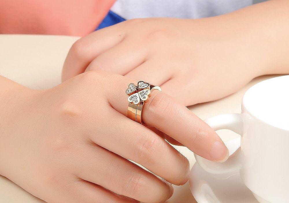 iLove EU 3in1 Edelstahl Ring Bandring Zirkonia Rose Gold Herz Klee Kleeblatt Hochzeit Wedding Eheringe Charm Charme Damen