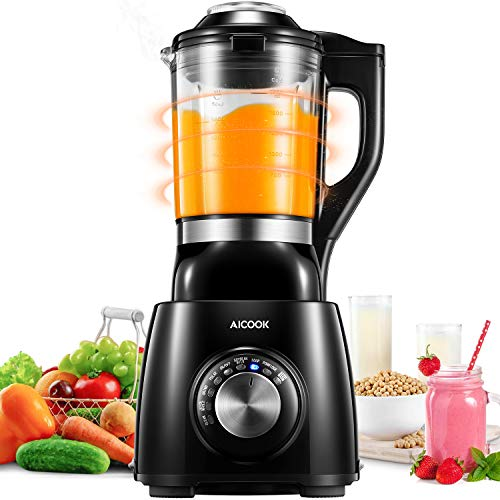 AICOOK Blender, Smoothie Blender, Baby Food Maker with Heating Function, 1400W, 59 Ounce Glass Pitcher, 8 Preset Modes for Baby Food, Juice, Smoothie, Soy Milk and Porridge