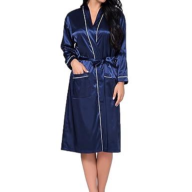 qiansu Largo Satén Liso Corto Kimono Corto Albornoz Kimono Corto Bata para Boda: Amazon.es: Ropa y accesorios