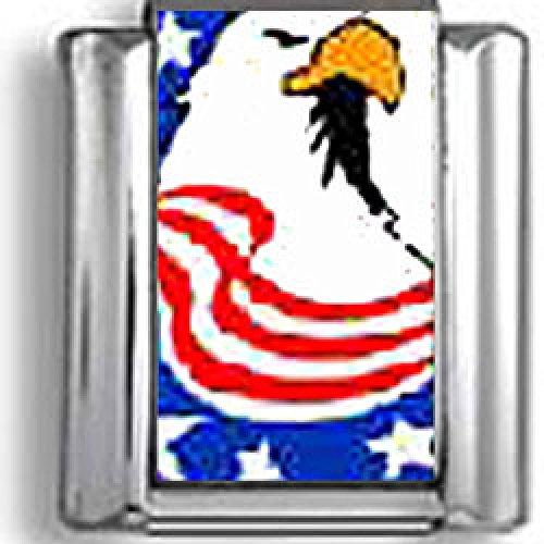Bald Eagle draped in the American Flag Italian charm