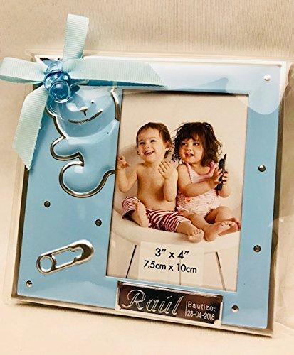 Marcos fotos para bautizo niño GRABADOS PERSONALIZADOS (pack 12 unidades) portafotos regalos invitados marco
