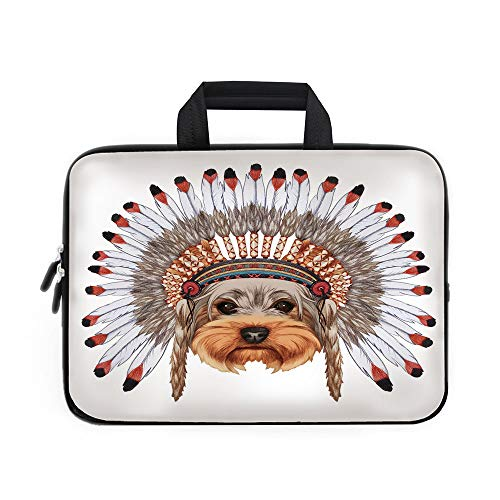 Yorkie Laptop Carrying Bag Sleeve,Neoprene Sleeve Case/Yorkshire Terrier in War Bonnet Ethnic Culture Hand Drawn Cute Dog Illustration Decorative/for Apple Macbook Air Samsung Google Acer HP DELL Leno
