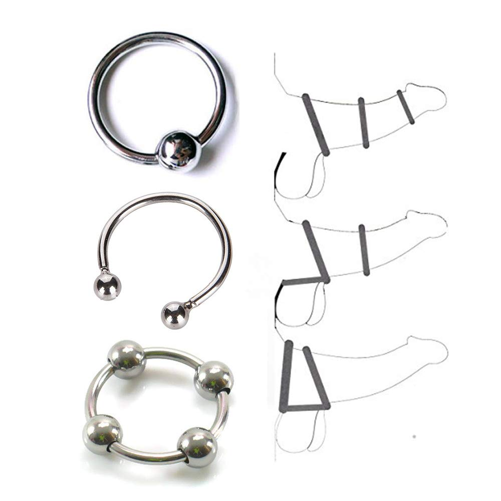 Metal Rings with Beads for Male Strength and Training(3 Pcs)