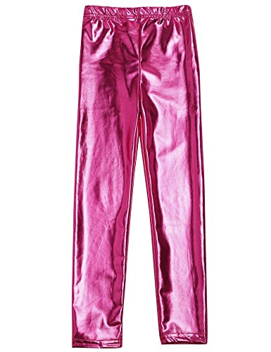 Arshiner Little Girls' Metallic Color Shiny Stretch Leggings,Rose Red,140(Age for 11-13Years) -
