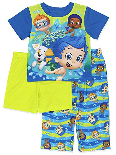 Bubble Guppies Toddler Boys 3 piece Shorts Pajamas Set (2T, Blue/Green) by Nickelodeon
