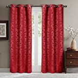Cheap Pair of Two Room Darkening Window Panels, Elegant and Contemporary Virginia Blackout Grommet Top Thermal Insulated Draperies. Set of Two Red 37″ by 84″ Panels (74″ by 84″ Pair)