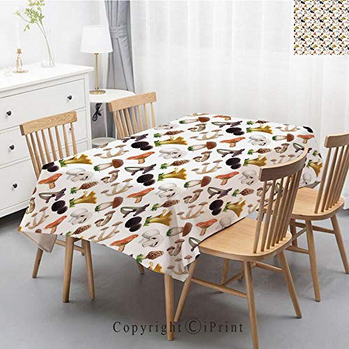 (Premium Linen Printed Tablecloth,Ideal for Grand Events and Regular Home Use,Machine Washable,55x70 Inch,Mushroom,Realistic Style Various Kinds of Fresh Toadstools Truffles Natural Lifestyle Coo)