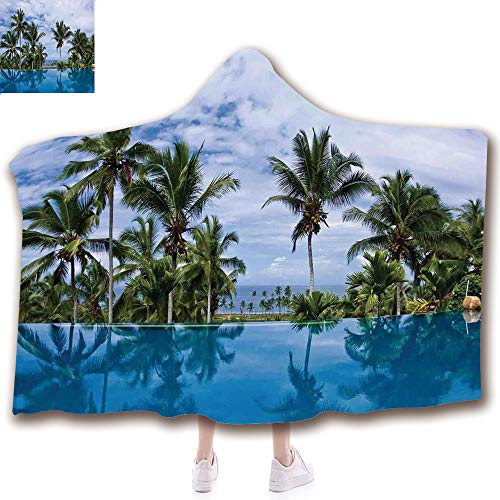 - scocici Fashion Blanket Ancient China Decorations Blanket Wearable Hooded Blanket,Unisex Swaddle Blankets for Babies Newborn by,Palm Tree Reflections and Crystal Water,Adult Style Children Style