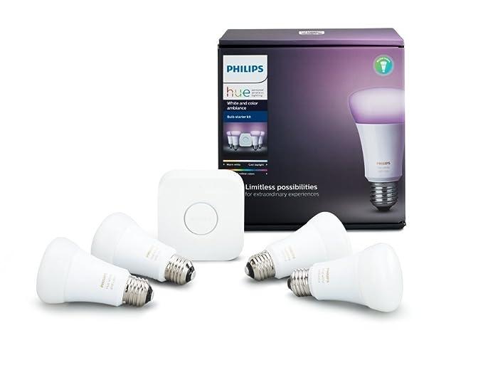 Bombillas LED de Philips, color blanco RGBW LED E2710W.Juego