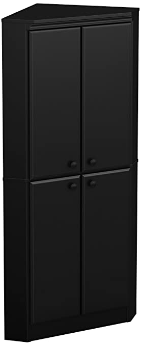 Delicieux South Shore Morgan 4 Door Corner Armoire, Pure Black