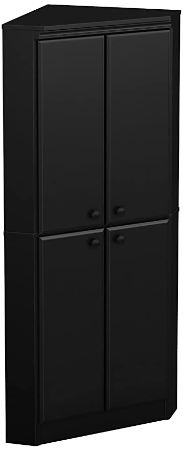 Lovely South Shore Morgan 4 Door Corner Armoire, Pure Black