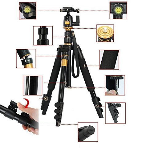 - Koolehaoda Professional Portable Magnesium Aluminium Alloy Tripod Monopod & Ball Head for SLR Camera Canon Nikon Petax Sony Tripod K-555 Max Height: 55.9