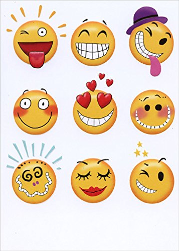 9 Emoticons Recycled Paper Greetings Funny Birthday Card