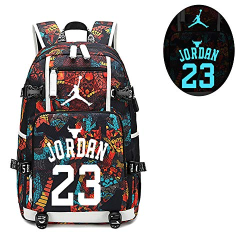 Jordan Basketball Player - Basketball Player Star Jordan Luminous Backpack Travel Student Backpack Fans Bookbag for Men Women (Style 2)