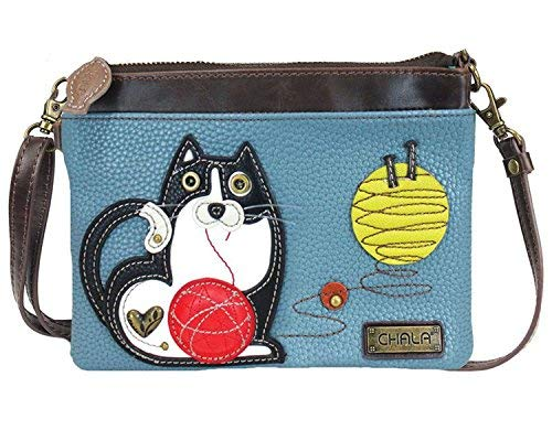 Chala Fat Cat Mini Crossbody Handbag - Convertible Strap, Cat Lovers Gifts (Blue)