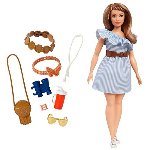 Barbie Purely Pinstriped Fashion Doll, Fashionista #76, and Barbie Fashions Sightseeing Accessory Pack Great Gift for Girl for Birthdays and Holidays