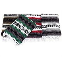 "Mexican Blanket Heavy Authentic Throw 58"" X 74"" Beach, Picnic, Car Afghan"