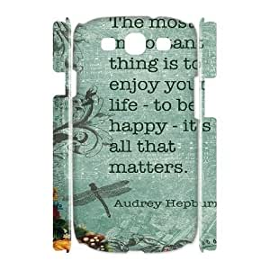 Customized Durable Case for Samsung Galaxy S3 I9300 3D, Audrey Quotes Phone Case - HL-539560