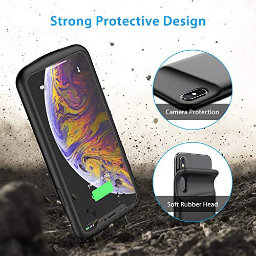 Battery Case for iPhone X/XS, 4000mAh Ultra Slim Protective Charging Case Rechargeable Extended Battery Pack for 5.8 inch iPhone X/XS (Black) by Swaller (Image #2)