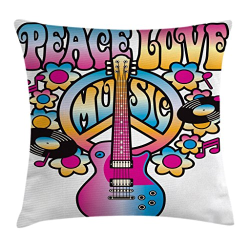 Ambesonne Groovy Decor Throw Pillow Cushion Cover, Peace Love Music Peace Symbol Guitar Vinyl Records Flowers Musical Notes, Decorative Square Accent Pillow Case, 16 X 16 Inches, Multicolor