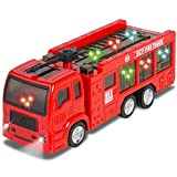 Best Choice Products Kids Toy Fire Truck with Electric Flashing Lights, Siren Sound, Bump & Go Action, Red