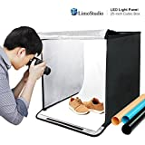 25 Inch Cube Box Black LED Lighting Table Top Photo Shooting Tent for Commercial Product Photo Shoot, Color Background, LED Panel, Easy Install with Velcro, Photography Studio, AGG2258