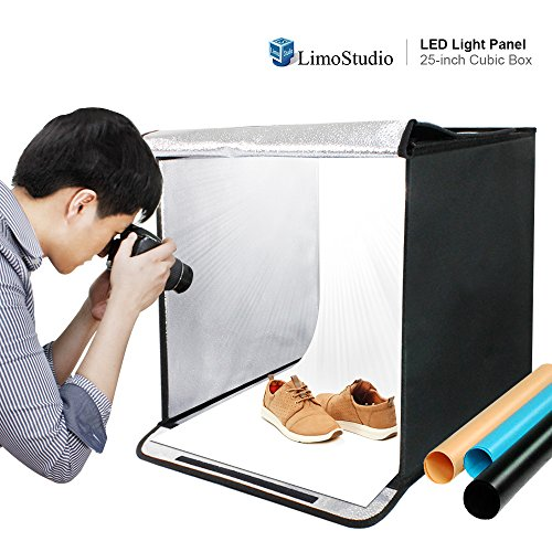 25 Inch Cube Box Black LED Lighting Table Top Photo Shooting Tent for Commercial Product Photo Shoot, Color Background, LED Panel, Easy Install with Velcro, Photography Studio, AGG2258 (Commercial Studio)
