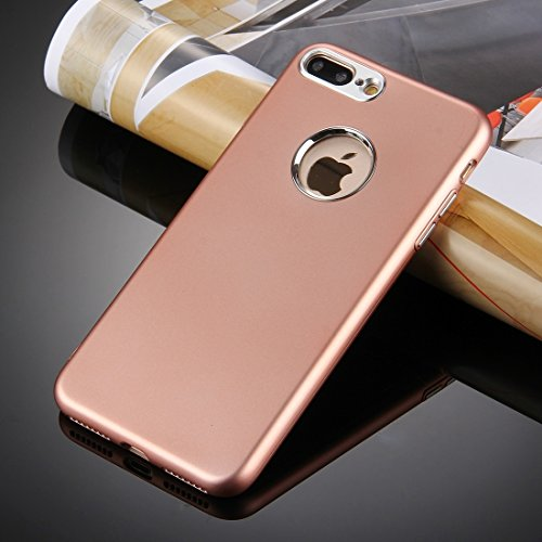 MXNET Iphone 7 Plus-Kasten, reiner Farben-Öl-Auslauf-weicher TPU-Metallknopf-schützender Fall-rückseitige Abdeckung CASE FÜR IPHONE 7 PLUS ( Color : Rose gold )