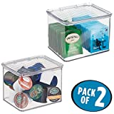 mDesign Kitchen Bin Storage Container with Hinged Lid, 5.5'' x 6.6'' x 5'' - Pack of 2, Clear