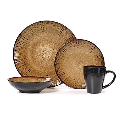 Gourmet Basics by Mikasa Linden 16-Piece Dinnerware Set, Service For 4 ()