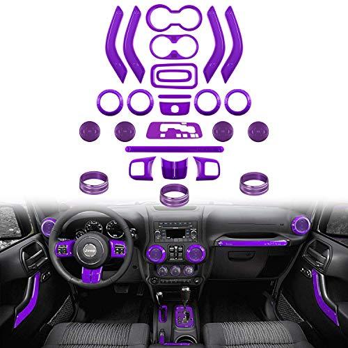 26 PCS Full Set Interior Decoration Trim Kit Steering Wheel & Center Console Cover, Air Outlet Trim, Door Handle Cover Inner, Gear Frame,Copilot Handle Trim For Jeep Wrangler 2011-2018 4 Door (Purple)