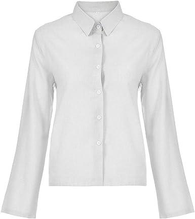 MOTOCO Camisa Mujer Oficina de Manga Larga Camisa Casual Chaqueta Umbral Color sólido Cuello Alto Camisa Polo Top(S, Blanco): Amazon.es: Ropa y accesorios