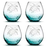 Set of 4, Sea Turtle Stemless Wine Glasses, Crackle Teal, Made in USA, Tribal Design, Hand Etched Gifts, Sand Carved by Integrity Bottles Review