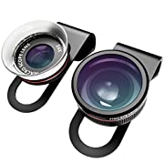 Amazon Lightning Deal 81% claimed: VicTsing Clip-On 3 in 1 Fisheye+12X Macro+24X Super Macro Camera Lens Kit for iPhone Samsung and Android Devices-Black