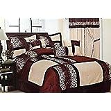 7-Piece Safari Zebra & Giraffe Print Comforter Set Micro Fur Bed In a Bag (Brown, Queen)