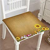 Antique Wooden Folding Deck Chairs Mikihome Chair Pads Squared Seat Antique Old Planks American Style Western Rustic Wooden and Sunflower, Flower, Grass Outdoor Dining Garden Patio Home Kitchen Office 32