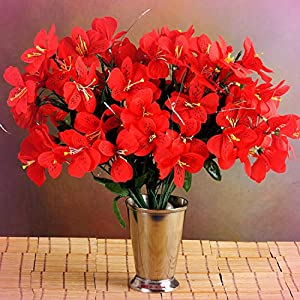 Inna-Wholesale Art Crafts New 6 RED Bushes Silk Mini PRIMROSES Decorating Flowers Bouquets Decorations Perfect for Any Wedding, Special Occasion or Home Office D?cor 30