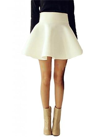 7863775ce79 Vintage Women High Waist Plain Skater Flared Pleated Stretch Short Mini  Skirt  Amazon.co.uk  Clothing
