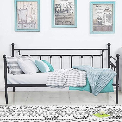 VECELO Premium Daybed Frame Twin Size Multifunctional Metal Platform with Headboard Victorian Style,Mattress Foundation/Children Bed Sofa for Guest Living Room, Black