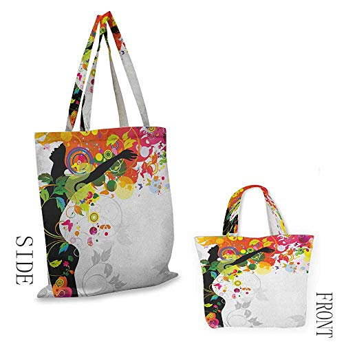 """zippered shopping bag ColorfulWoman Silhouette with Vibrant Colored Hair Abstract Freedom Expressing Image Print Multicolor18""""W x 16""""H"""
