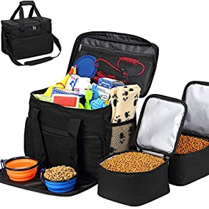 Kundu Cat & Dog Travel Bag - Includes 2 Food Carriers, 2 Bowls & Place Mat - Airline Approved - Black 15