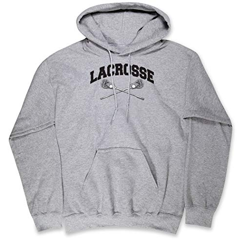Guys Lacrosse Standard Sweatshirt | Crossed Sticks | Gray | Youth Medium