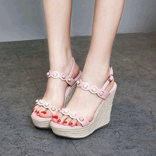 Sandales Compensées Tressées Sexy Femmes Rose Talons Plateforme À Bout Ouvert (couleur: Rose 12cm, Taille: 36) 12cm Rose
