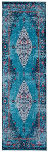 (Mylife Rugs Imperia Collection Traditional Vintage Non Slip (Non-Skid) Machine Washable Medallion Distressed Runner Rug (2'7x7'7, Red - Turquoise))