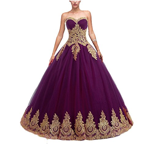 Sweet 16 Dresses Gowns (Eldecey Women's Strapless Lace Applique Sweet 16 Pageant Ball Gown Prom Quinceanera Dress Dark Purple US6)