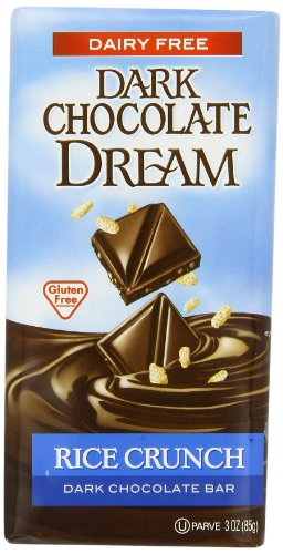SunSpire Dream Dark Chocolate Bar, Rice Crunch, 3 Ounce (Pack of 12) Chocolate Fat Free Candy
