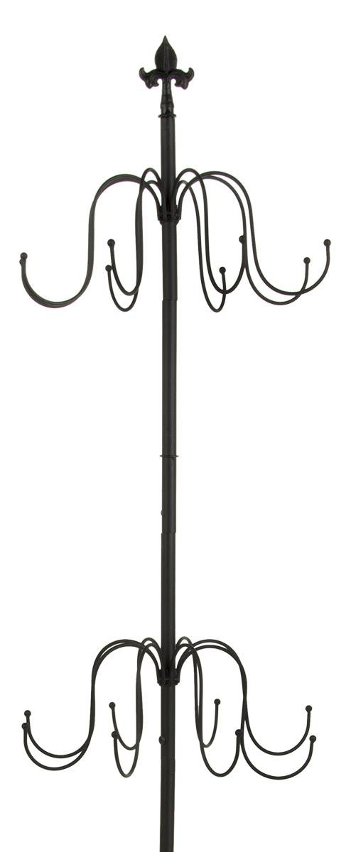 Displays2go 2-Tier Wrought Iron Coat Rack, Black, 73 by 21 by 16-Inch