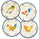 Sur La Table Jacques Pepin Collection Assorted Chickens Appetizer Plates, Set of 4