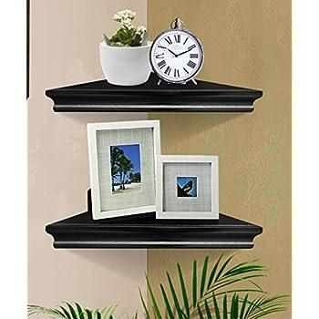 Black Wall Corner Shelf Unit Home Kitchen